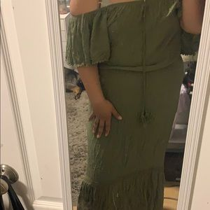 Green and Pink maxi dress